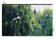 Great Blue Heron Flying Past The Trees Above Trojan Pond 2 Carry-all Pouch