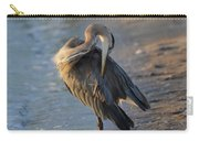 Great Blue Heron Preening On The Beach Carry-all Pouch