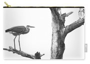 Great Blue In Black And White Carry-all Pouch