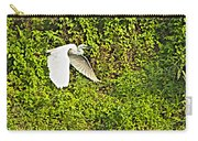 Great Egret Flying Over Rapti River In Chitwan Np-nepal Carry-all Pouch