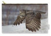 Great Grey Owl In Flight Carry-all Pouch by Jakub Sisak
