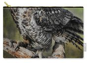 Great Horned Owl On Branch Carry-all Pouch