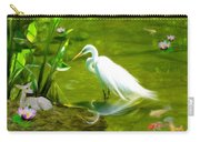 Great White Egret Bird With Deer And Fish In Lake  Carry-all Pouch