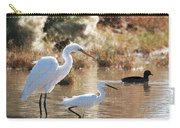 Greater Egret Lesser Egret And Coot Carry-all Pouch
