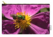 Green Bee Feeding On Rock Rose Carry-all Pouch