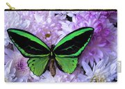 Green Butterfly And Mums Carry-all Pouch