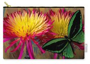 Green Butterfly On Fire Mums Carry-all Pouch