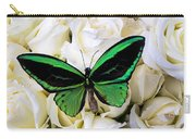 Green Butterfly On White Roses Carry-all Pouch