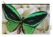 Green Butterfly With White Roses Carry-all Pouch