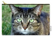 Green Cat Eyes In Summer Grass Carry-all Pouch