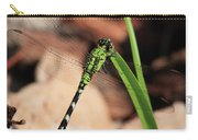 Green Dragonfly On Grass Square Carry-all Pouch