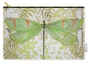 Green Dragonfly On Vintage Tin Carry-all Pouch