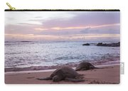 Green Hawaiian Sea Turtles At Sunset - Oahu Hawaii Carry-all Pouch by Brian Harig