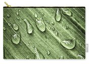Green Leaf Background With Raindrops Carry-all Pouch