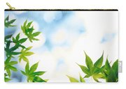 Green Leaves On Mottled Cloudy Sky Carry-all Pouch