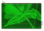Green Negative Wood Flower Carry-all Pouch