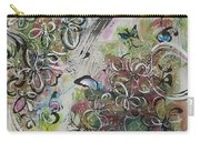 Green Pink Brown Abstract Art Spring Color Blossom Flower Butterfly Painting Abstract Acrylic Ink Ar Carry-all Pouch