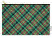 Green Red And Black Diagonal Plaid Textile Background Carry-all Pouch