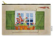 Green Shutters With Red Flowers Carry-all Pouch