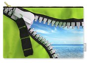Green Zipper Carry-all Pouch by Carlos Caetano