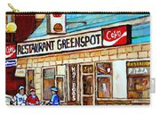 Greenspot Restaurant Notre Dame Street  South West Montreal Paintings Winter Hockey Scenes St. Henri Carry-all Pouch