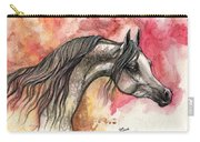 Grey Arabian Horse On Red Background 2013 11 17  Carry-all Pouch