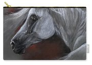 Grey Arabian Horse Soft Pastel Drawing 13 04 2013 Carry-all Pouch