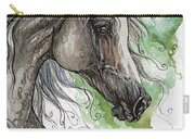 Grey Arabian Horse Watercolor Painting 1 Carry-all Pouch