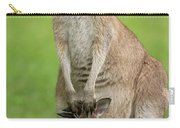 Grey Kangaroo And Joey  Carry-all Pouch