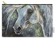Grey Pony With Long Mane Oil Painting Carry-all Pouch