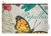 Grey Postcard Butterflies 3 Carry-all Pouch by Debbie DeWitt
