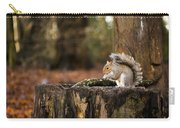 Grey Squirrel On A Stump Carry-all Pouch
