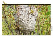 Grey Wasps Nest In Willow Bush Carry-all Pouch