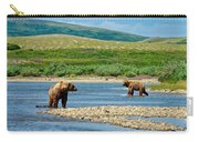 Grizzly Bear Communication In The Moraine River In Katmai  Np-ak Carry-all Pouch