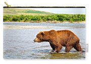 Grizzly Bear Determined To Catch A Salmon This Time In The Moraine River  Carry-all Pouch