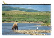 Grizzly Bear Stalking A Gull In The Moraine River In Katmai National Preserve-alaska Carry-all Pouch