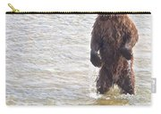 Grizzly Bear Standing To Get A Better Look In The Moraine River In Katmai Carry-all Pouch