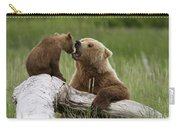 Grizzly Bear With Cub Playing Carry-all Pouch