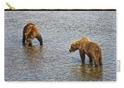 Grizzly Bears Looking For Salmon In Moraine River In Katmai Np-ak Carry-all Pouch