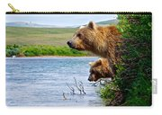 Grizzly Bears Peering Out Over Moraine River From Their Safe Island Carry-all Pouch