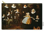 Group Portrait Of Three Generations Of A Family In The Grounds Of A Country House Oil On Canvas Carry-all Pouch