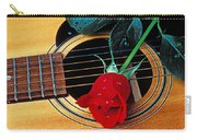 Guitar With Single Red Rose Carry-all Pouch