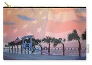 Gulf Shores Beach With Flag Carry-all Pouch