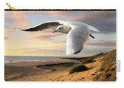 Gull On The Wing Over Beach Landscape Carry-all Pouch