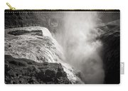 Gullfoss Iceland In Black And White Carry-all Pouch