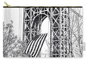 Gw Bridge American Flag In Black And White Carry-all Pouch