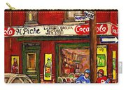 H. Piche Grocery - Goosevillage -paintings Of Montreal History- Neighborhood Boys Play Street Hockey Carry-all Pouch