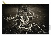 Halloween Green Skeleton Vinette Black And White Carry-all Pouch