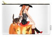 Halloween Witch Nicki With Kitten Carry-all Pouch
