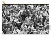 Happy Baseball Fans In The Bleachers At Yankee Stadium. Carry-all Pouch by Underwood Archives